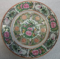 Image of 2010.092.027A - Holbrook-Palmer Rose Canton Dish, mid-19th century.  One of a set of three (2010.092.027A-C) Rose Canton china side dishes from Holbrook-Palmer Estate.  Fine china dish painted in gold, pinks, greens and blues.  Border has an alternating birdand  floral/butterfly motif.  Center has a floral butterfly motif as well.