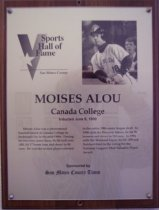 Image of Moises Alou Sports Hall of Fame plaque