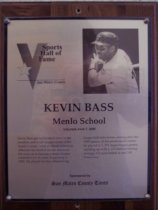 "Image of 2009.030.012 - Wood and acrylic plaque commemorating Kevin Bass of Menlo School who was inducted into the San Mateo County Sports Hall of Fame on June 7, 2000.  Plaque includes image of  Bass and a brief biography:  ""Kevin Bass got his baseball start on the sandlots and youth league fields of the South County. Later, at Menlo School in Atherton he excelled on the diamond. He went on to become a major league outfielder for 14 years, beginning in 1982. He played for five different big league ballclubs before retiring after the 1995 season. In his professional career, he played in 1,571 major league games, winding up with a .270 lifetime batting average, 611 runs batted in and 118 home runs."""