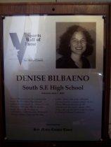 Image of Denise Bilbaeno Sports Hall of Fame plaque