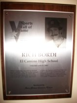 Image of Rich Bordi Sports Hall of Fame Plaque