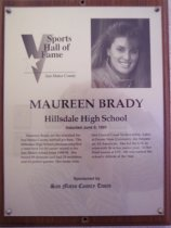 Image of Maureen Brady Sports Hall of Fame plaque