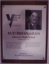 Image of Bud Bresnahan Sports Hall of Fame plaque