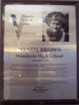 Image of Wendy Brown Sports Hall of Fame plaque