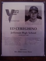 Image of Ed Cereghino Sports Hall of Fame plaque