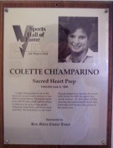 Image of Colette Chiamparino Sports Hall of Fame plaque