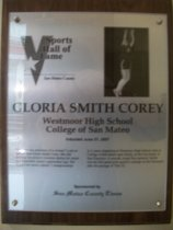 "Image of 2009.030.048 - Wood and acrylic plaque commemorating Gloria Smith Corey of Westmoor High School and College of San Mateo who was inducted into the San Mateo County Sports Hall of Fame on June 21, 2007.  Plaque includes image of Smith Corey and a brief biography:  ""You want the definition of a winner? Look no farther than Gloria Smith Corey. She did nothing but achieve victories during her career as a basketball player a generation ago. She helped her teams capture 5 championships in 5 years, beginning at Westmoor High School, then at College of San Mateo and, finally, at the University of San Francisco. A smooth, tough floor general, Smith was the first great point guard to emerge on the Peninsula after the passage of Title IX."""