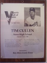 Image of Tim Cullen Sports Hall of Fame plaque