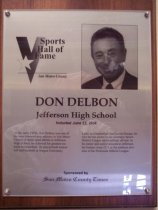Image of Don Delbon Sports Hall of Fame plaque