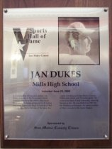 "Image of 2009.030.056 - Wood and acrylic plaque commemorating Jan Dukes of Mills High School who was inducted into the San Mateo County Sports Hall of Fame on June 23, 2005.  Plaque includes image of Dukes and a brief biography:  ""An outstanding left-handed pitcher, Jan Dukes was one of the Peninsula's finest baseball players in the 1960's. His clutch hit in the 15th inning produced a 1-0 victory over rival Capuchino High School in a 1963 contest regarded as one of the most dramatic ever played in San Mateo County. Dukes also struck out 19 in that game. He went on to Santa Clara University where he became a star. He was drafted in 1967 by the Washington Senators. He spent portions of three seasons in the major leagues."""