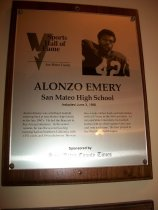 Image of Alonzo Emery Sports Hall of Fame Plaque
