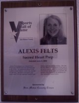 "Image of 2009.030.061 - Plaque commemorating Alexis Felts of Sacred Heart Prep being inducted into the San Mateo County Sports Hall of Fame on June 4, 2002.  Plaque includes image of Felts and a brief biography""Alexis Felts helped to put Sacred Heart Prep on the national and state sporting map in the 1990s. As a basketball player at the small Atherton Catholic school, she was part of a dynasty. Her junior and senior year teams went 75-0 and captured Central Coast Section and state championships. She was the San Mateo County player of the year in her senior season when she averaged nearly 20 points per game. Later at Colorado, she became a key player for the Buffaloes on their nationally-ranked teams."""