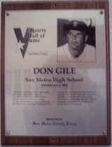 Image of Don Gile Sports Hall of Fame plaque