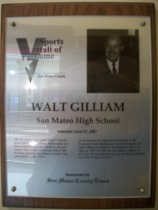 Image of Walt Giliam Sports Hall of Fame plaque