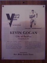 Image of Kevin Gogan Sports Hall of Fame plaque