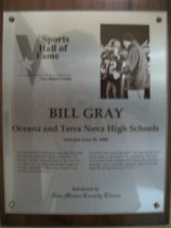 Image of Bill Gray Sports Hall of Fame plaque