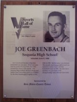 Image of Joe Greenbach Sports Hall of Fame plaque