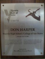 Image of Don Harper Sports Hall of Fame plaque