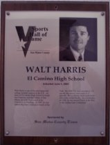 """Image of 2009.030.084 - Plaque commemorating Walt Harris of El Camino High School being inducted into the San Mateo County Sports Hall of Fame on June 5, 2001.  Plaque includes image of Harris and a brief biography:  """"Walt Harris is one of the most respected college football coaches in the U.S. An alum of El Camino High School in South San Francisco and College of San Mateo, he is now head coach at the University of Pittsburg. In 1997, he was named Big East Conference Coach of the Year. His 2000 Pitt team recorded a 7-4 record, the school's best mark in 11 seasons. He is a former head coach at the University of the Pacific. As a linebacker at CSM, he was named Player of the Year in the Golden Gate Conference."""""""