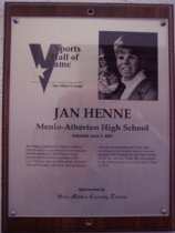 Image of Jan Henne Sports Hall of Fame plaque