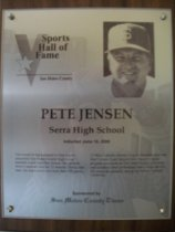 Image of Pete Jensen Sports Hall of Fame plaque