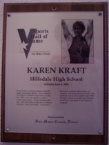 Image of Karen Kraft Sports Hall of Fame plaque