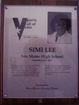 Image of Simi Lee Sports Hall of Fame plaque