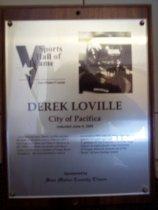 Image of Derek Loville Sports Hall of Fame plaque