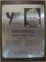Image of Pat Lovell Sports Hall of Fame plaque