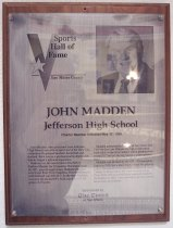 Image of John Madden Sports Hall of Fame Plaque