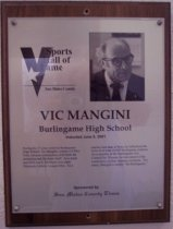 Image of Vic Mangini Sports Hall of Fame plaque