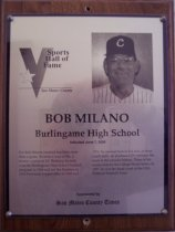 Image of Bob Milano Sports Hall of Fame plaque