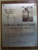 Image of Arron Oberholser Sports Hall of Fame plaque