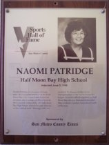 Image of Naomi Patrige Sports Hall of Fame plaque