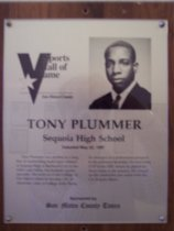 Image of Tony Plummer Sports Hall of Fame plaque
