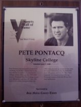 Image of Pete Pontacq Sports Hall of Fame plaque