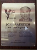 Image of John Radetich Sports Hall of Fame plaque