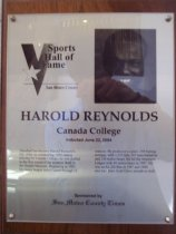 Image of Harold Reynolds Sports Hall of Fame plaque