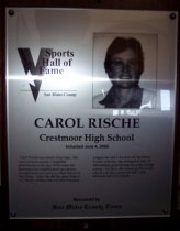 Image of Carol Rische Sports Hall of Fame Plaque