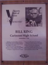 Image of Bill Ring Sports Hall of Fame plaque