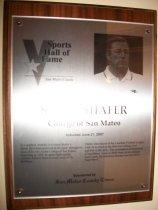 Image of Steve Shafer Sports Hall of Fame Plaque