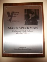 Image of Mark Speckman Sports Hall of Fame Plaque