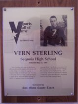 Image of Vern Sterling Sports Hall of Fame plaque