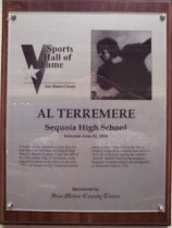 Image of Al Terremere Sports Hall of Fame plaque