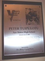 Image of Peter Tuipulotu Sports Hall of Fame Plaque