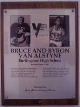 "Image of 2009.030.180 - Plaque commemorating Bruce and Byron Van Alstyne of Burlingame High School being inducted into the San Mateo County Sports Hall of Fame on June 5, 2001.  Plaque includes images of the Van Alstyne brothers and a brief biography:  ""Bruce and Byron Van Alstyne became one of San Mateo County's most athletically gifted brother acts in the 1940s and early 1950s. Both were three-sport stars who attended Burlingame High School and Menlo College. Bruce, a year younger than Byron, played football at Stanford as an end and linebacker He participated in the 1951 East-West Shrine Game. He turned down a chance to play pro football. Byron, a guard, went on to play basketball at USC. Both brothers served in the U.S. Navy."""