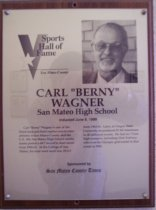 "Image of Carl ""Berny"" Wagner Sports Hall of Fame plaque"
