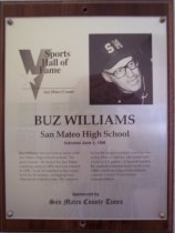 Image of Buz Williams Sports Hall of Fame plaque