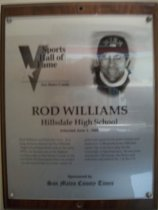 Image of Rod Williams Sports Hall of Fame plaque
