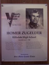 Image of Homer Zugelder Sports Hall of Fame plaque